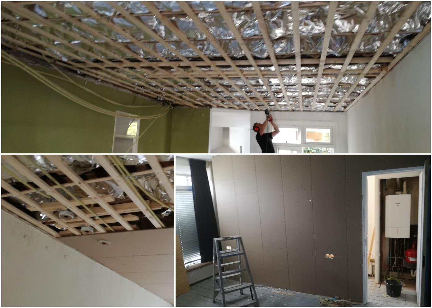 verbouwing amsterdam: plafond vernieuwen en tussenwand plaatsen